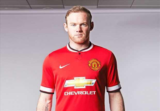 Wayne rooney tampil dengan seragam dan sponsor baru for Manchester united shirt sponsor