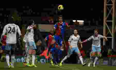 Crystal Palace 's Marouane Chamakh scores the opening goal during the Barclays Premier League match at Selhurst Park, London.