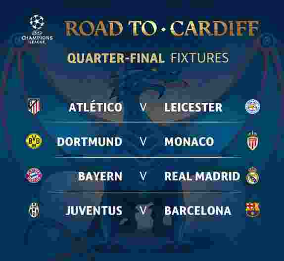 Perempat Final Liga Champion 2017 Bayern vs Madrid, Juve vs Barca, Atletico vs Leicester