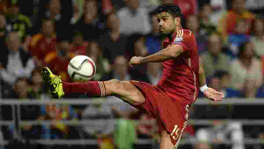 Spain's forward Diego Costa tries to control a ball during the Euro 2016 qualifying football match Spain vs Slovakia at the Carlos Tartiere stadium in Oviedo on September 5, 2015. Spain won the match 2-0.  AFP PHOTO/ MIGUEL RIOPA        (Photo credit should read MIGUEL RIOPA/AFP/Getty Images)