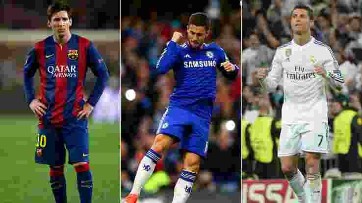 Eden Hazard ,Lionel Messi dan Cristiano Ronaldo