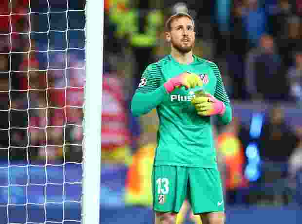 Jan Oblak of Atletico Madrid during UEFA Champions League - Quarter-Finals match between Leicester City and Atletico Madrid at King Power Stadium, Leicester,  18 April 2017 (Photo by Kieran Galvin/NurPhoto via Getty Images)